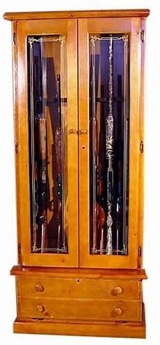 12 gun wood gun cabinet pine locking doors