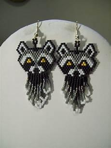 american style beaded wise raccoon earrings animal