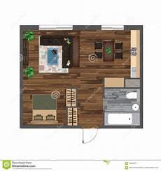 Apartment Furniture Planner Architectural Color Floor Plan Studio Apartment Vector