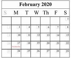2020 Blank Calendar Pdf Blank February 2020 Calendar Printable Template Pdf Word