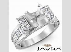 Round Baguette Diamond Engagement Antique Ring Setting