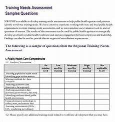 Training Needs Questionnaire Template Free 11 Training Needs Assessment Samples In Pdf Ms Word