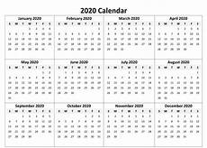 12 Months Calendar 2020 Printable Free Yearly 12 Month Calendar One Page Template Printable