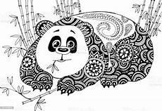 Ausmalbilder Tiere Panda Panda In Den Bambusdickicht Handgezeichnete Muster Zum