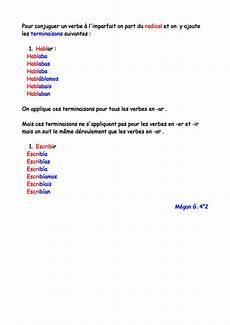 Escribir Conjugation Pour Conjuguer Un Verbe 224 L Imparfait On Part Du Radical