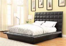louisa black king upholstered platform bed from coaster