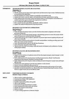 Experienced Hr Analyst Resume Business Analyst Hr Resume Samples Velvet Jobs