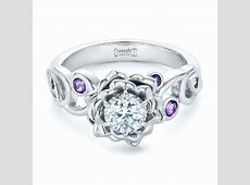 Custom Organic Flower Halo and Amethyst Engagement Ring