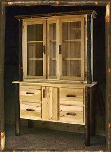 amish rustic hickory hutch log cabin dining furniture