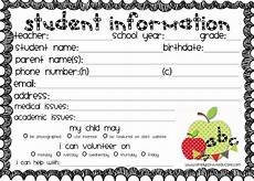 Student Information Card Template Get Organized With Our Clasroom Forms Kit And Cute