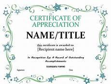 Free Certificates Of Appreciation Templates 31 Free Certificate Of Appreciation Templates And Letters
