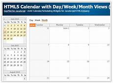 Calendar Html Code Html5 Calendar With Day Week Month Views Javascript Php