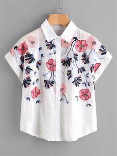 embroidery shirt embroidery rolled sleeve shirt shein sheinside