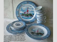 Nautical Breeze 19 Pc Melamine Dinnerware Set NEW