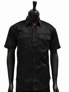 knock out mens black two pocket cotton button up
