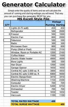 generator ratings chart backup emergency standby generator installations