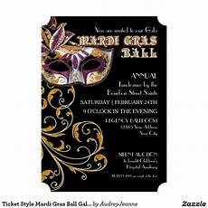 Masquerade Ball Invitation Template Free Ticket Style Mardi Gras Ball Gala Party Fundraiser