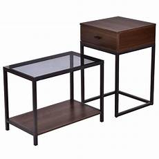 2 pcs metal frame wood glass top nesting side table in