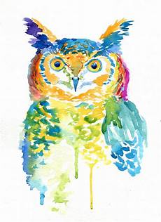 Colorful Owl Art Colorful Owl Art Print Watercolor Gifts Rainbow