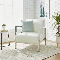 shop modena modern white leather accent chair free