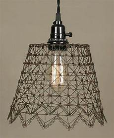Farmhouse Swag Light Plug In French Chicken Wire Swag Lamp Pendant Light