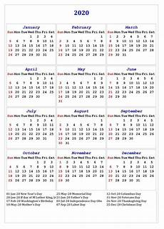 2020 Calendar Printable With Holidays 2020 One Page Calendar Printable Calendar 2020