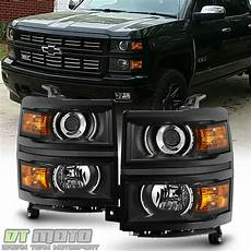 Aftermarket Headlights And Lights For Trucks Black Projector Headlights For 2014 2015 Chevy Silverado