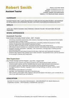 Resume For Teacher Assistant Assistant Teacher Resume Samples Qwikresume