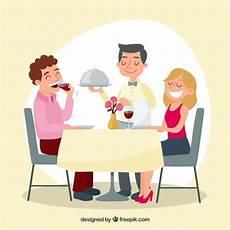 Kelner En Koppel In Een Elegant Restaurant Vector Gratis