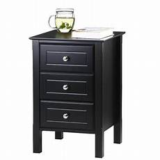 yaheetech black gloss 3 drawers bedside table cabinet