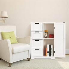 homfa bathroom floor cabinet wooden side storage organizer