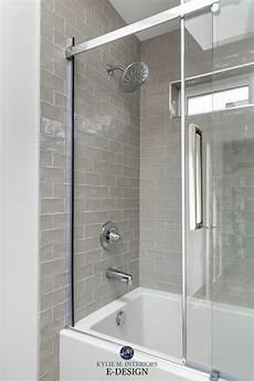 glass subway tile bathroom ideas bathroom warm gray greige subway tile surround light