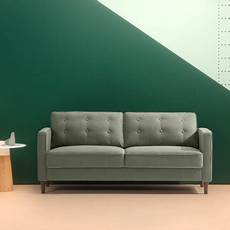 zinus mid century button tufted upholstered 74 quot sofa pear