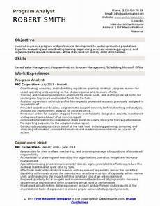 Sample Program Analyst Resume Program Analyst Resume Samples Qwikresume