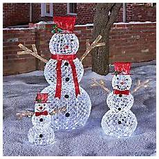 Lighted Snowman Family Set Of 3 Member S Mark 3 Piece Illuminated Crystallized Snowman