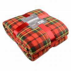 soft warm check fleece blanket single king tartan