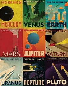 retro plakat retro planetary travel posters space