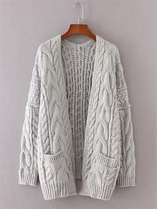 drop shoulder cable knit cardigan shein sheinside