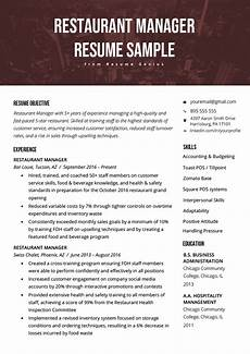 Restaurant Resume Restaurant Manager Resume Sample Amp Tips Resume Genius