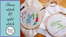 embroidered letters stem stitch split stitch