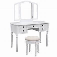 songmics vanity set w stool and folding mirror make up