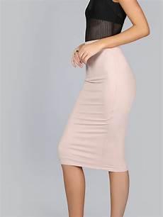 jersey knit midi skirt shein sheinside