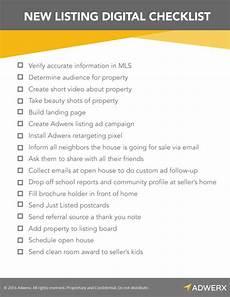 Real Estate Inspection Checklist Digital Marketing Checklist For New Real Estate Listings
