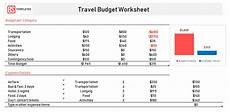 Travel Budget Spreadsheet Free Travel Budget Template For Excel Excel Worksheet