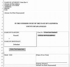 California Pleading Template Pleading Form Los Angeles Superior Court Word Automation