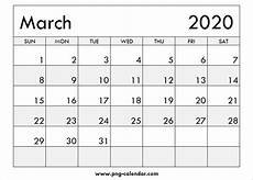 Blank March 2020 Calendar Printable Free Png Calendar