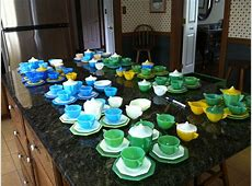 Completed sets of Akro Agate Childrens dishes /tea sets
