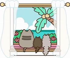 pusheen window kawaii cat