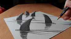 Drawing 3d How I Draw 3d Sharks Youtube