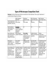Types Of Microscopes Comparison Chart Color The Microscope Parts Color The Microscope Parts